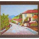 Greece Folk Art Naive Vintage Painting Mary Grening Arcadia Houses Village Road