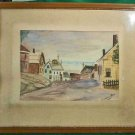 Vintage Folk Art Naive Painting Nantucket Architectural Houses Seaside Fath