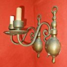 Pair Brass Wall Sconce Vintage Hollywood Regency Old Patina Bulbous Scrolls Lamp