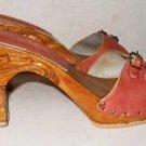 Scenic Carving Wood Heel Tiki Platform Shoes Vintage 70s Karvings Clog MONSTER
