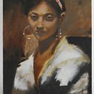 Exotic Beauty Tropical Vintage Painting Glowing Woman with Hoop Earrings Bruce