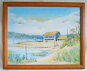 Chesapeake Vintage Original Painting Delaware Bay Waterfront Fish House Wood