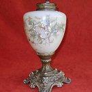 Antique Lamp Base Glass Hand Painted Butterflies Victorian Fancy Romantic Nature