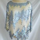 Vintage Disco Overall Paillettes Seed Pearls Tunic Top Silk Oleg Cassini  L