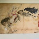 Vintage Western Cowgirl Original Bucking Bronco Folk Art Painting Cole Camp Mo