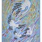 Ornithology Original Vintage Painting Folk Art Naive Storks Birds Flying Weber