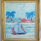Vintage Folk Painting Miami Beach Florida Seascape RTL Sailing 86 Fancy  Frame