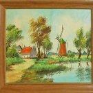 Dutch Landscape Original Vintage Oil Painting Windmill Farm Pond Spring Henkje