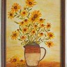 Folk Art Daisies Vintage Painting Still Life Yellow Stoneware Earthtones Elder