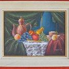 Folk Art Outsider Naive Vintage Painting Strange Still Life Fruit  Viola J K
