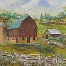 Naive Folk Art Painting Vintage 60s Happy Farm House Landscape Barn Silo Country