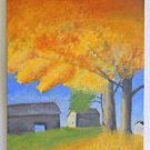 Folk Naive Cubist Landscape Painting Farmhouse Barn Fiery Orange Fall Newton