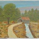 New England Vintage Original Painting  Covered Bridge Plein Air Scott 1981