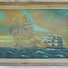 Vintage Marine Painting Clipper Sailing Ship Allegorical Sea Captain T Ramon