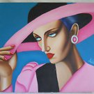 Drag Queen Outsider Folk Street Art Original Painting Red Lips Pink Hat Alex