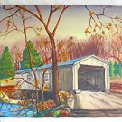Folk Art Naive Vintage Painting New England Covered Bridge Fall Landscape M.M.M.