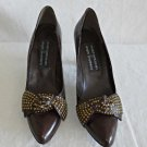 Stuart Weitzman Studded Bow Brown Pumps Pointy Vintage 80s  8.5 Smyth Bros Shoes