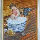 Folk Art Vintage Original Painting Bath Time Sudsy Toddler Galvanized Tub Dunst