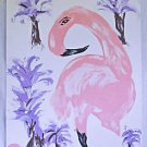 Folk Outsider Original Painting Pink Flamingo Purple Palm Trees Tropical Simon