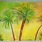 Vintage Folk Naive Tropical Painting Thru Crown Coconut Palms Sunrise Bregman
