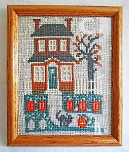 Architectural Vintage Needlepoint Halloween House Pumpkin Cat Staten Island N.Y.