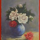 Vintage Painting Still Life Botanical Flowers Roses White Red Romantic Small Liz