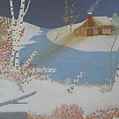 Vintage Painting Winter Snow Landscape Birch Trees Deer Cabin Brook Vera M Kinne