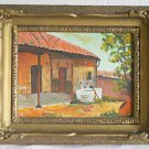 Vintage Painting Cowboy Ranch Life Adobe Southwest Running Faucet H Castillo M