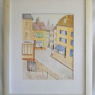 Naive Folk Vintage Painting Watercolor Yorkshire England Duffy Street Scene Dog