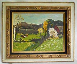 Naive Folk Vintage Painting Ranch Homestead Landscape Tole Frame Solanski