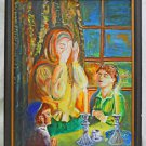 Folk Art Vintage Original Painting  Sabbath Friday Night Prayer Jewish Dunst