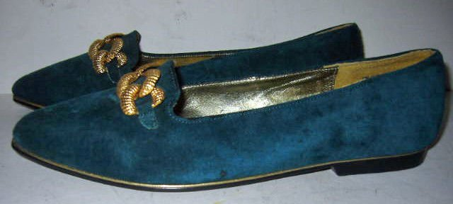 Pointy Toe NOS Ann Marino Flats Shoes 7.5 M Brogues Rope Gold Chain Blue Suede