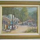 Vintage Original Painting Lynne Bishop Gordon Town Jamaica Locals Shopping Signs