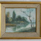 Vintage Antique Impressionist Painting Ibaldi Fisherman Man Fishing Boat Lake