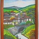 Folk Art Naive Vintage Painting River Hill Town Andes Man Dog Fishing 92 Ambino