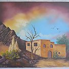 Folk Western Vintage Original Cowboy Ball Ranch House Painting Adobe New Mexico