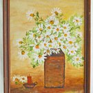 White Daisies Folk Art Naive Vintage Original Painting Still Life Candle Elder