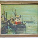 Commercial Fishing Vintage Painting Ruth Portnoff Marine Boats Harbour Scene 71