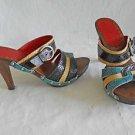 Isabella Fiore Wood Platform Mules Sandals Clogs Leather Multi Color Bands 7