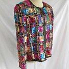 Vintage 70s Sequin Allover Geometric Silk Trophy Jacket Deadstock NOS Kazar L