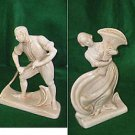 Vintage Antique Roselane # 1 and 2 Pottery White Calif Pasadena 2 Tall Figures