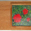 Vintage Southern Outsider Folk Art Tile Painting Tropical Hibiscus Flower Dicker
