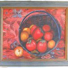 Folk Art Naive Vintage Painting Tomatoes Still Life Harvest Culinary Fiery Reds
