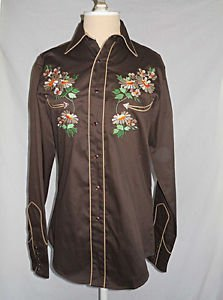 Vintage Western Cowboy Shirt Roper Embroidered Daisy Flower Denver Deadstock