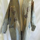 Vintage 80s  Rina Dinarski Coat Jacket Couture Patchwork Denim Leather Leopard