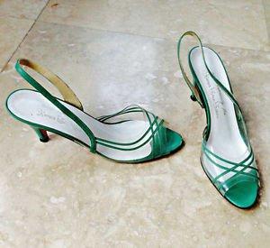 Vintage 60s Slingback Sandals See Thru Peep Toe Kemp Shoe Salons 7.5N Green