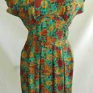Vintage BOMBSHELL 70s Nos Silk Obi Backless Dress Debora Kuchne Floral Muted sz6