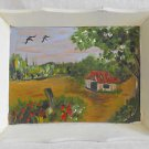 Folk Art Naive Vintage Painting Tiny House Country Landscape Rural Birds Ribel