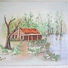 Folk Art Vintage Painting Birding Camp Big Cypress Forida Swamp Highway Cracker