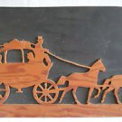 Vintage Folk Art Carving Carved Naive  Tramp Single Piece Stage Coach 2 Horses